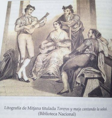 Litografía de Mitjana.Maja cantanto la soleán